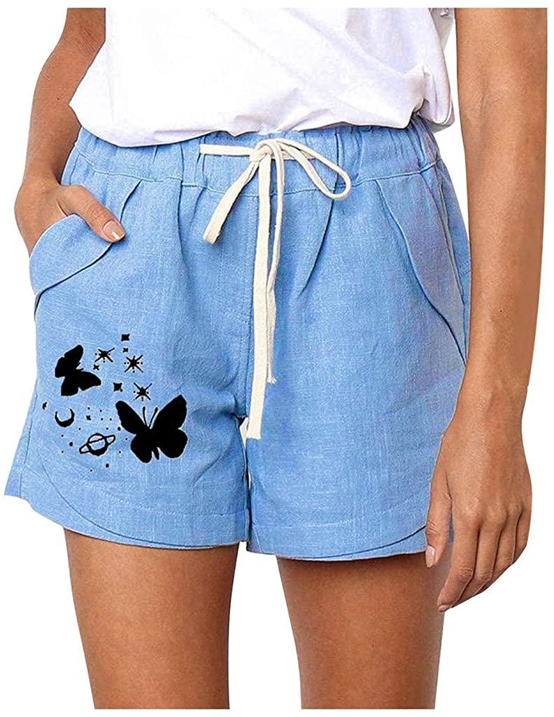 Linen Shorts Women's Wide Leg Shorts, Lulupi Printing Elastic Waist Shorts Ladies Loose Casual Shorts Summer Breathable Comfortable Shorts