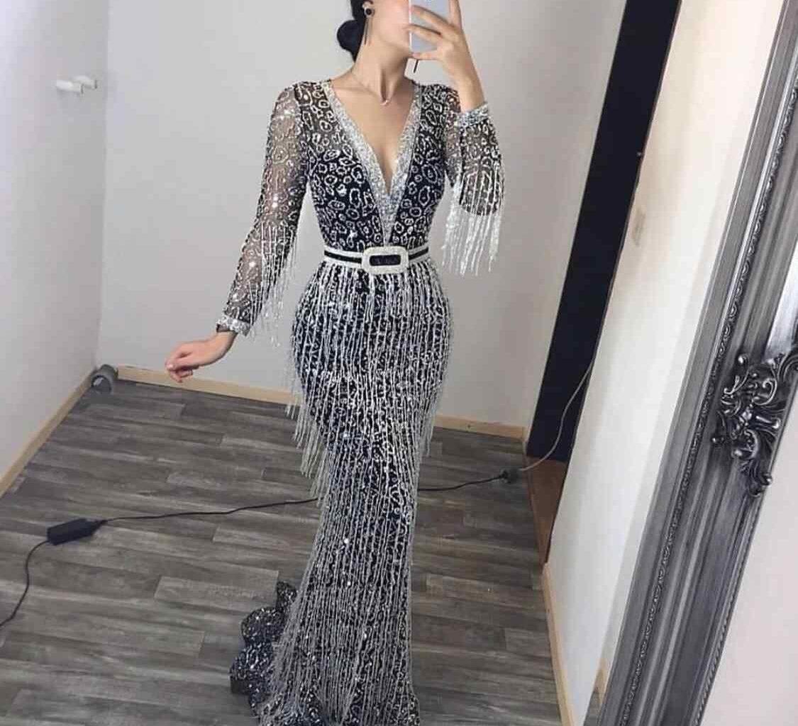 Long Sleeve Embellished Dresses