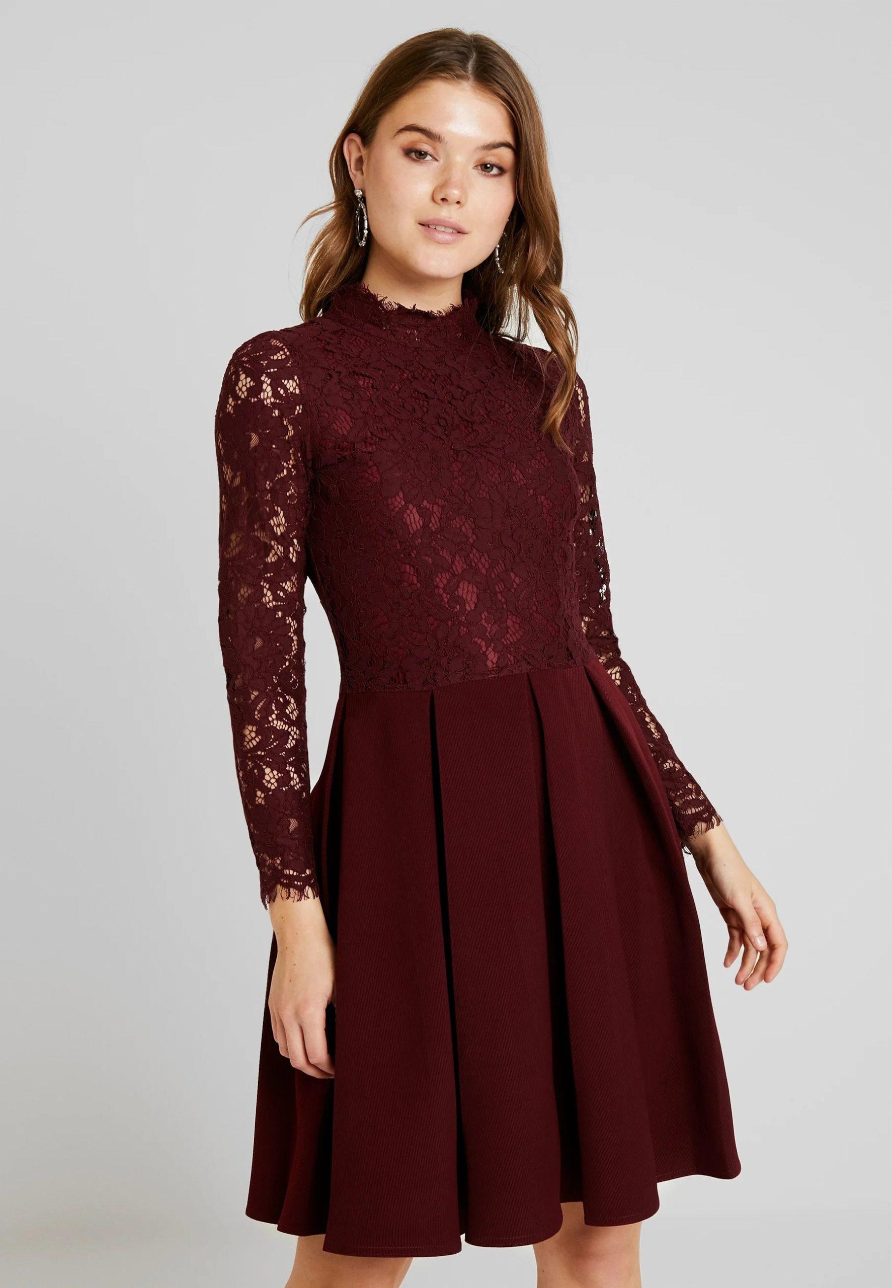 Long-sleeve Cocktail Neck Dress
