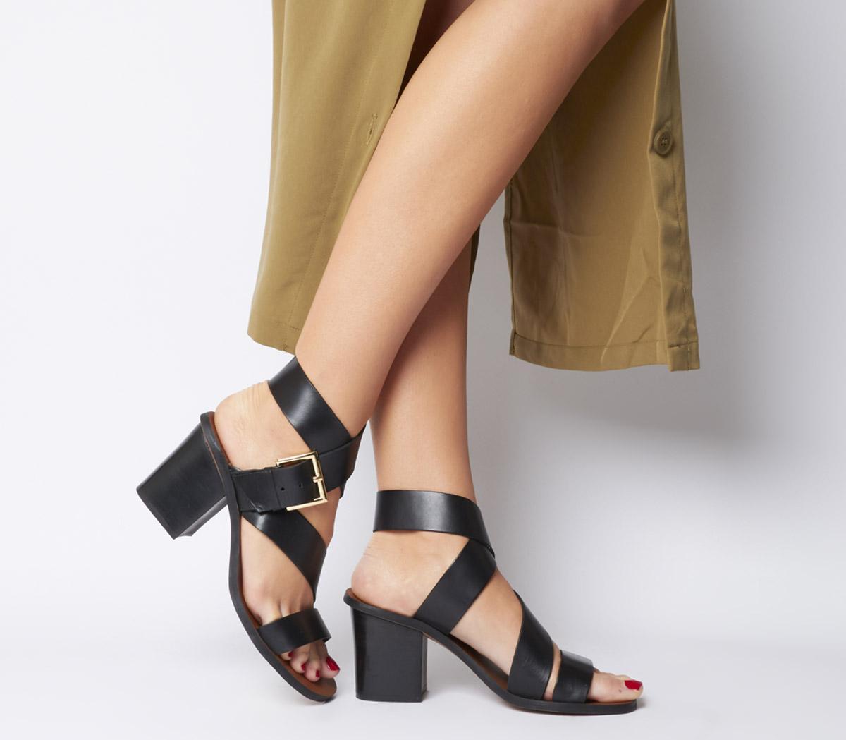 Match- Ankle Strap Block Heel Sandal Black Leather