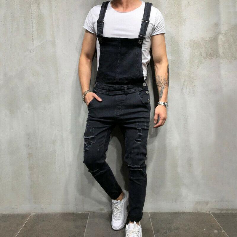 Men Denim Dungarees Work Pants Bib and Brace Zip Fly Jumpsuit Jeans Trousers