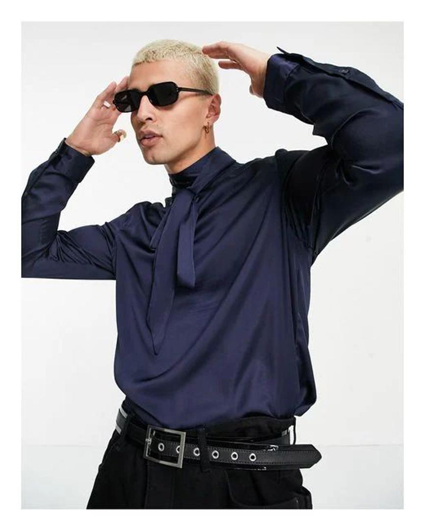 Men's Blue Regular Satin Shirt With Pussybow Neck Tie