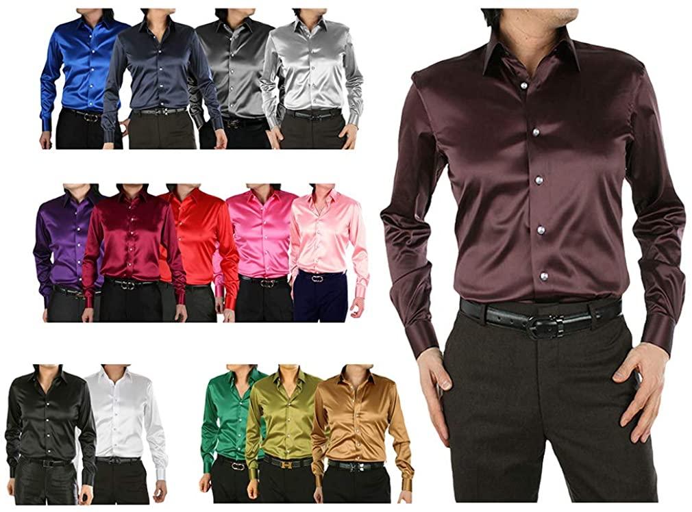 Mens Formal Silk Satin Shirts Crystal Button Long Sleeve Business Wedding Suit Regular Fit Plain Dress Weekend Attire 15 Colors