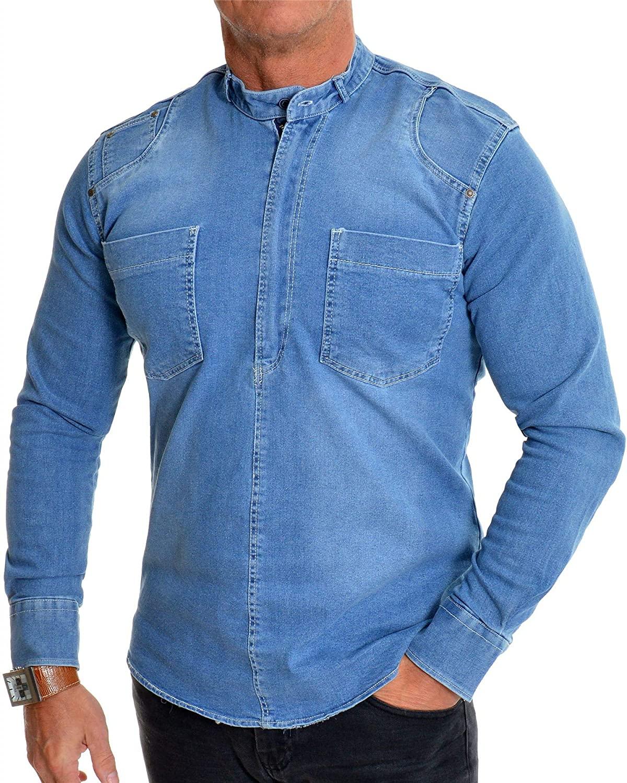 Men's Heavy Duty Denim Jean Shirt Zipper Grandad Collar Front Pockets Acid Wash