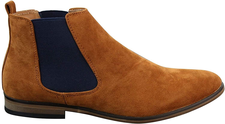 Mens Italian Suede Slip On Ankle Boots Smart Casual Desert Chelsea Dealer