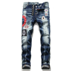 Men's Personality Patch Embroidered Jeans