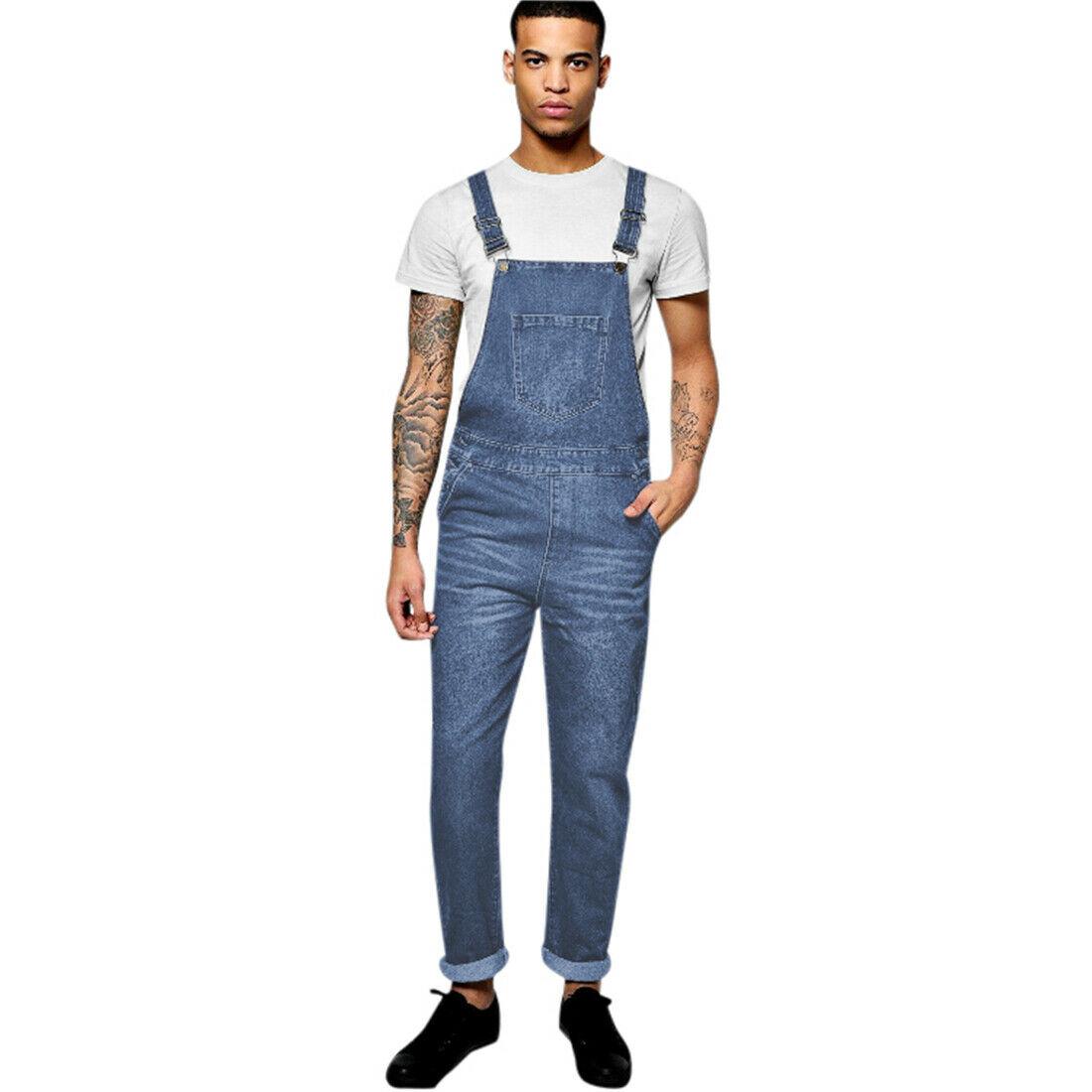 Mens Stonewash Blue Designer Denim Dungarees Dungaree Jeans Bib Overalls