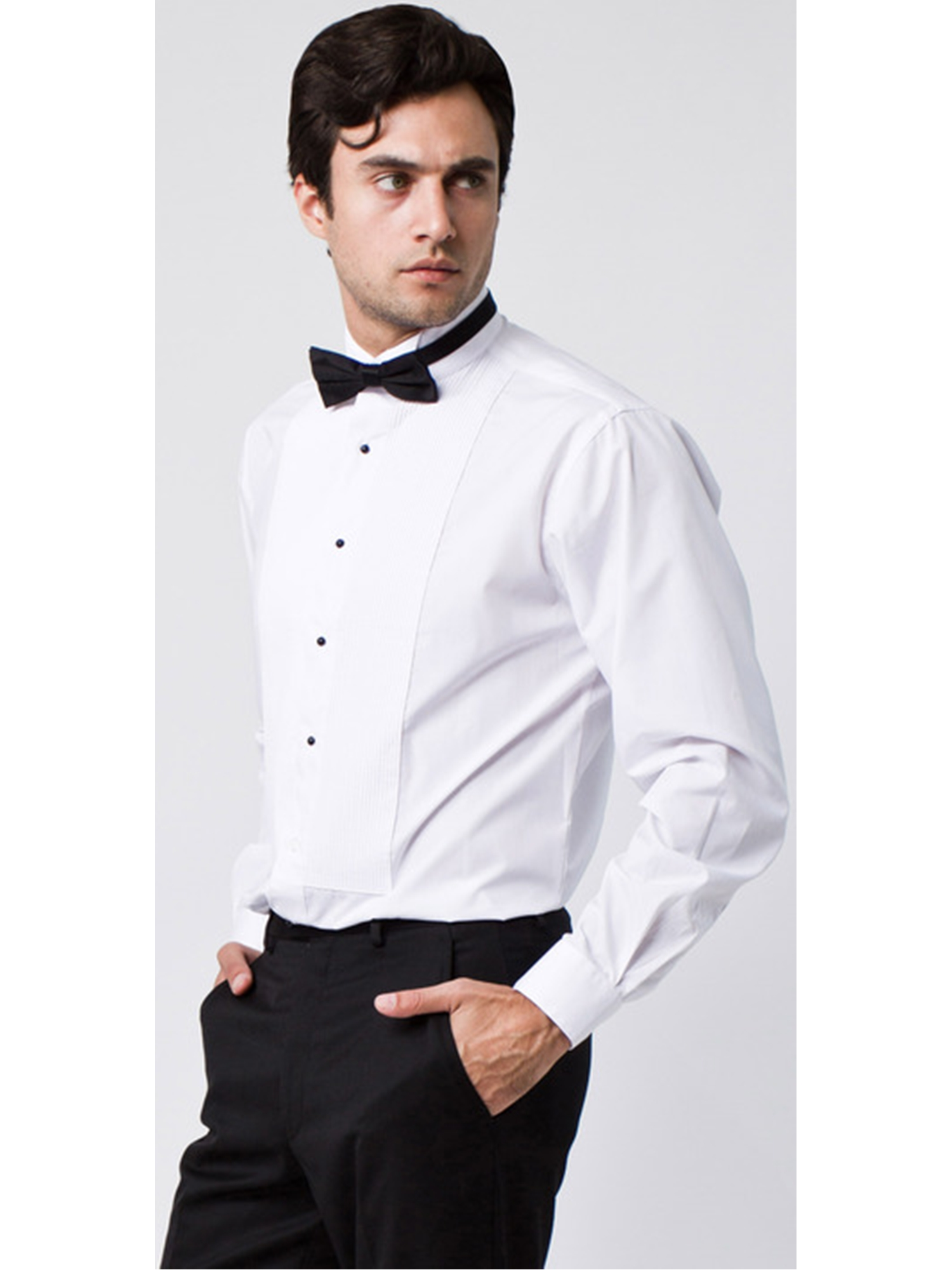 Men's Textured Slim Fit French Cuff Lay down Cotton Tuxedo Shirt