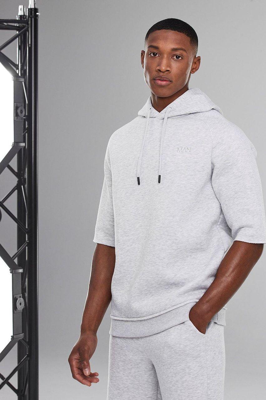 Mens White Man Active Oversized Short Sleeve Hoodie, White