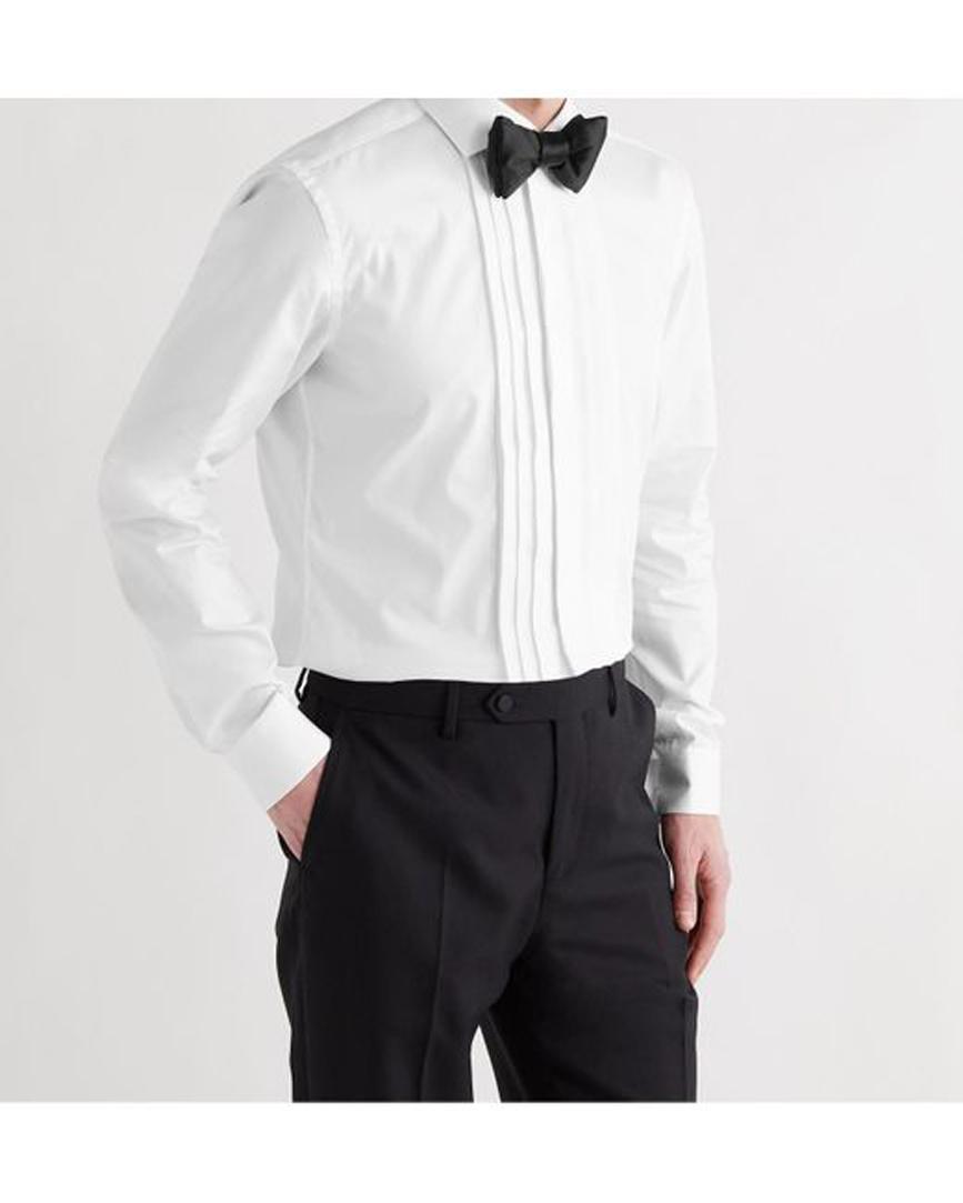 Men's White Slim-fit Cutaway-collar Pleated Bib-front Cotton-poplin Tuxedo Shirt