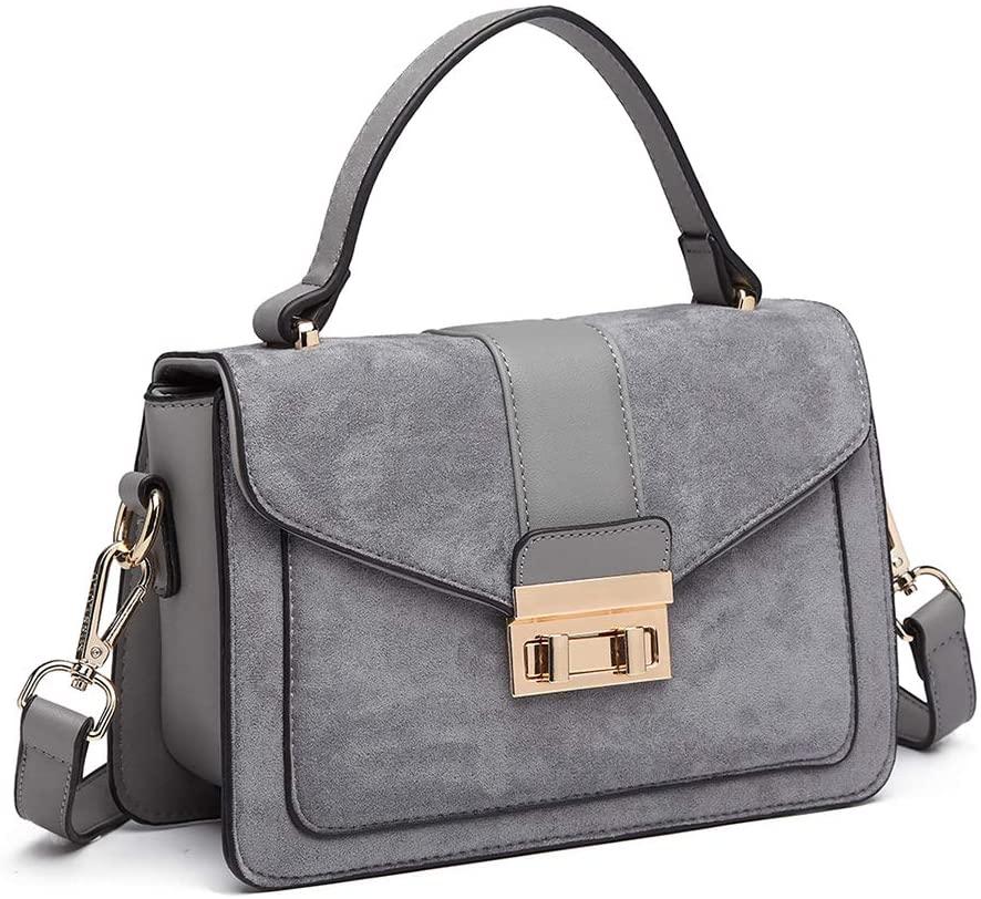 Miss Lulu Women Top Handle Bag Suede Handbags Pu Leather Shoulder Bag Elegant Modern For Work Shopping Travel (Grey)