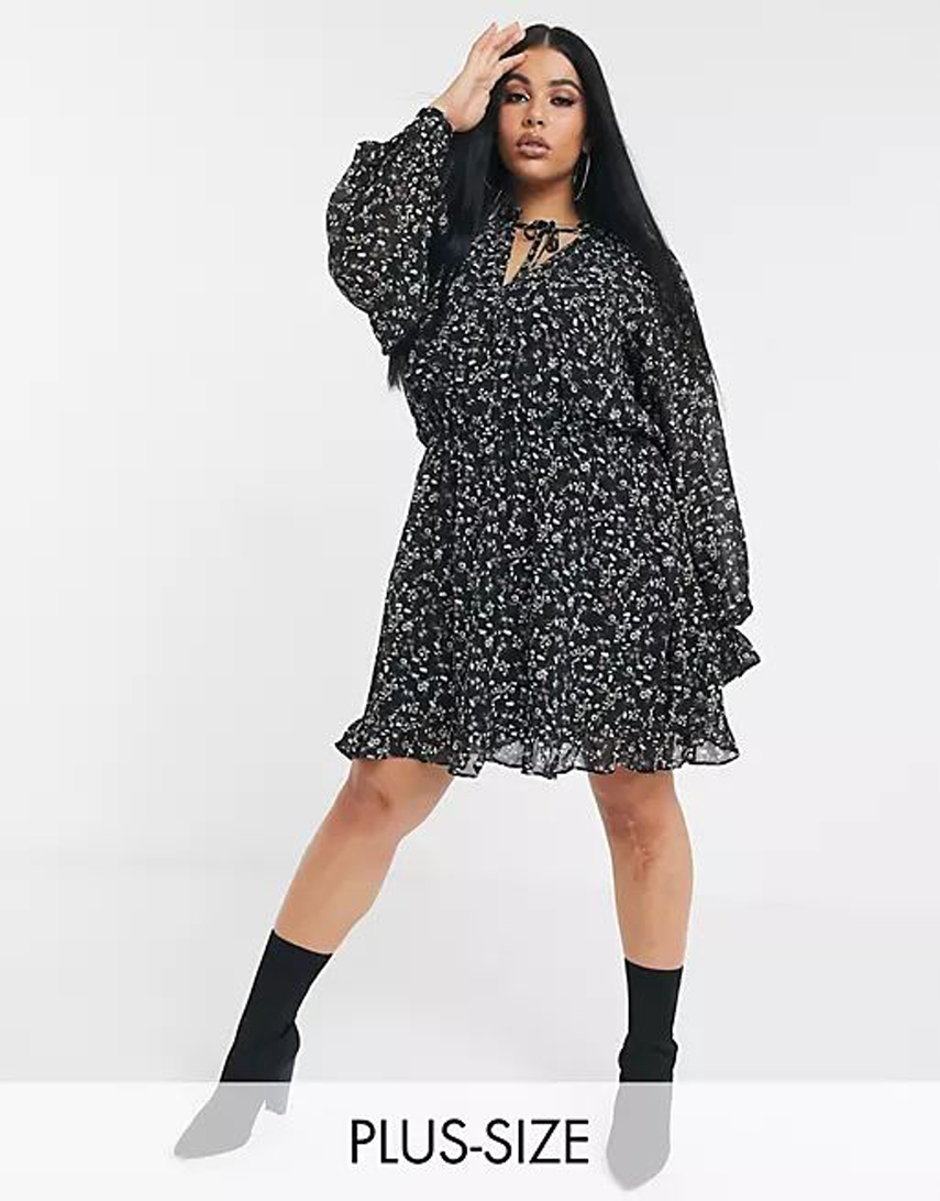 Missguided Plus tie neck smock dress in ditsy floral