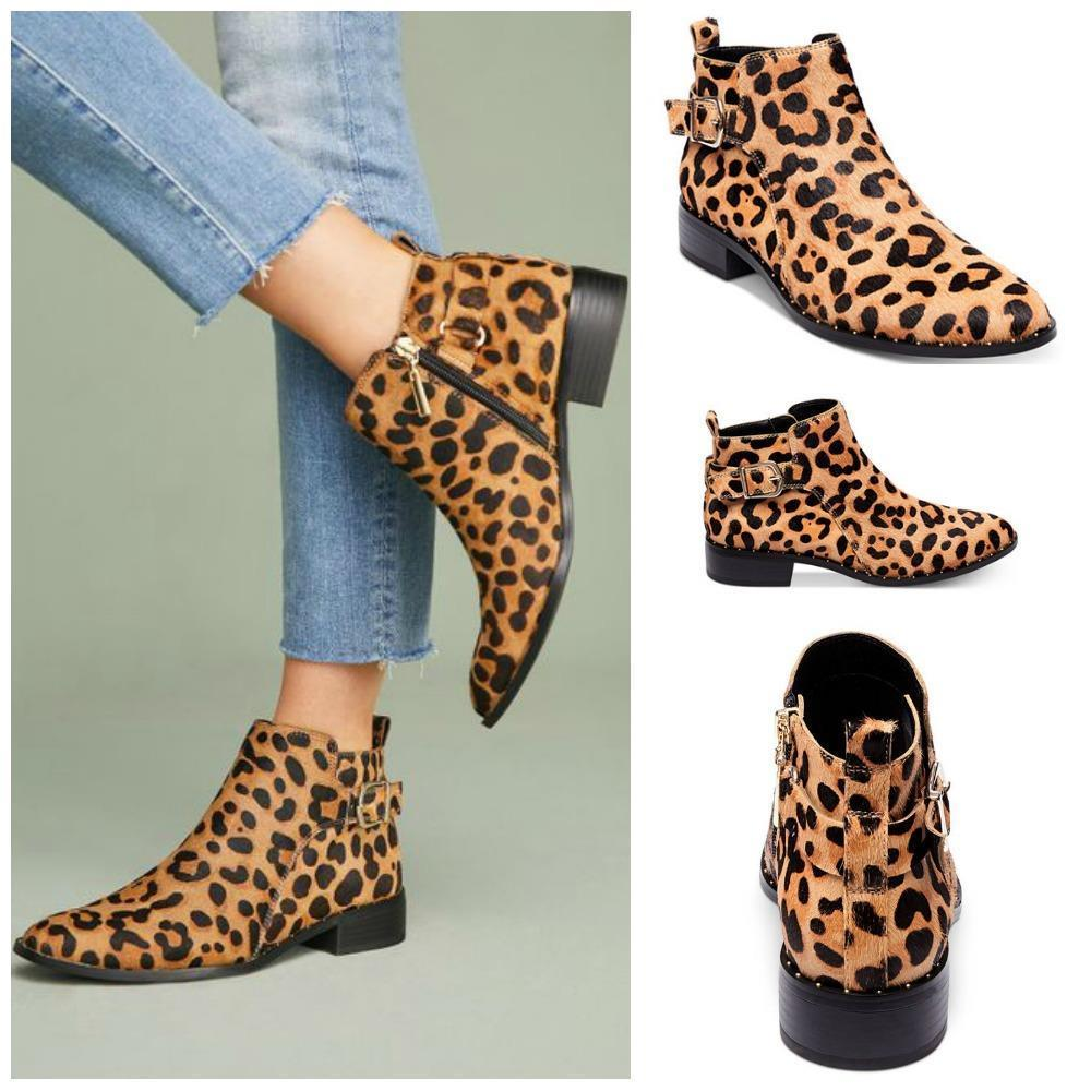 NEW STEVEN By Steve Madden LEOPARD Calf Hair CLIO Ankle Flats BOOTIES SIZE 6.5