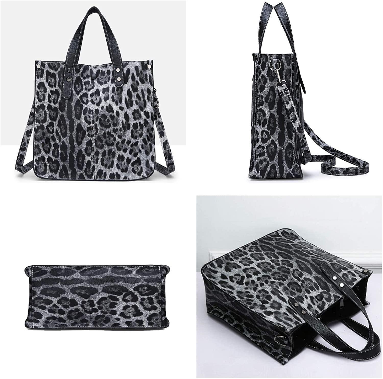 NOTAG Women Handbags, Leopard Print Handbag Large Capacity Top Handle Bag PU Leather Shoulder Bag with Pouch