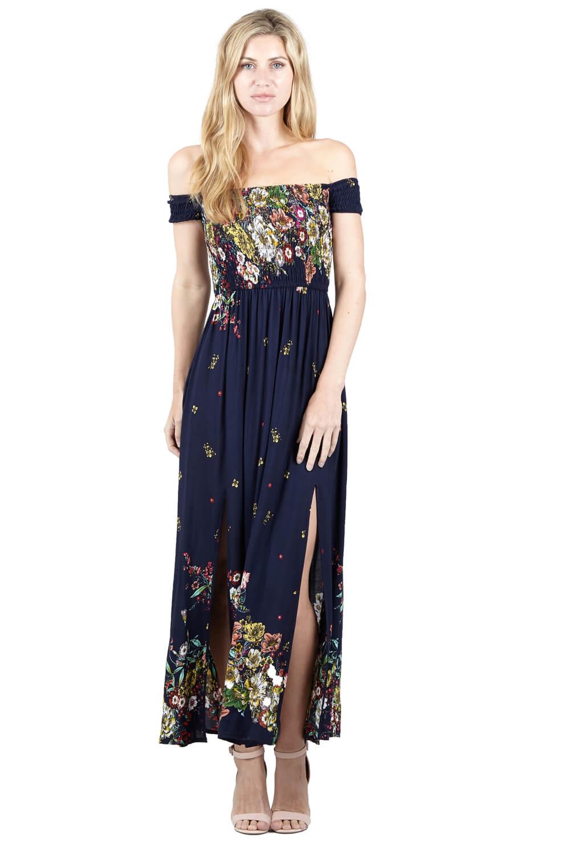 Navy Izabel London Floral Bardot Maxi Dress