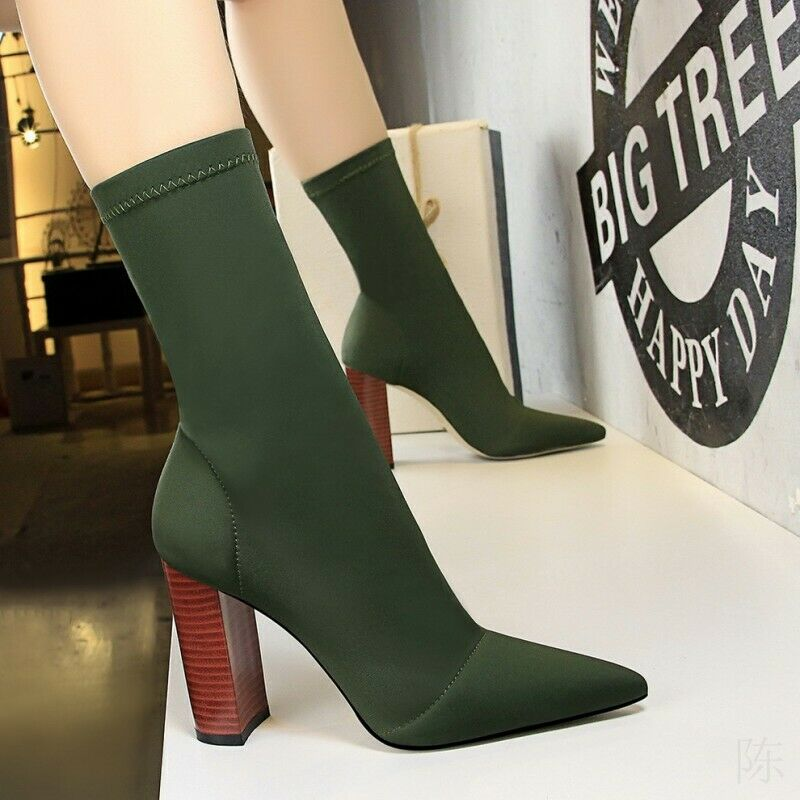 New Ladies Womens Block High Heel Stretchy Lycra Sock Fit Ankle Boots Party UK