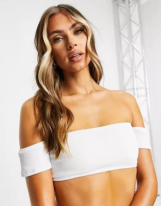 New Look rib bardot bikini top in white