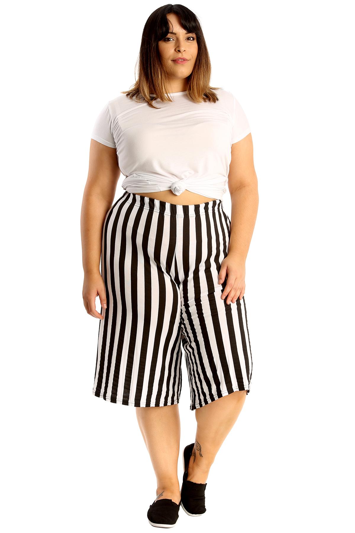 New Womens Plus Size Culottes Ladies Stripe Print Shorts Elastic Waist Wide Leg