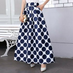 Occident Women's A-line Bubble Skirts Floral Printed Ankle-length Swing Beach