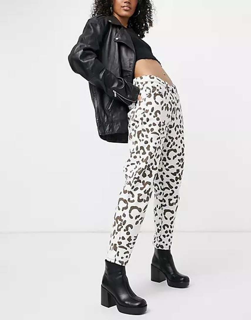 One Above Another mom jeans in cow print co-ord