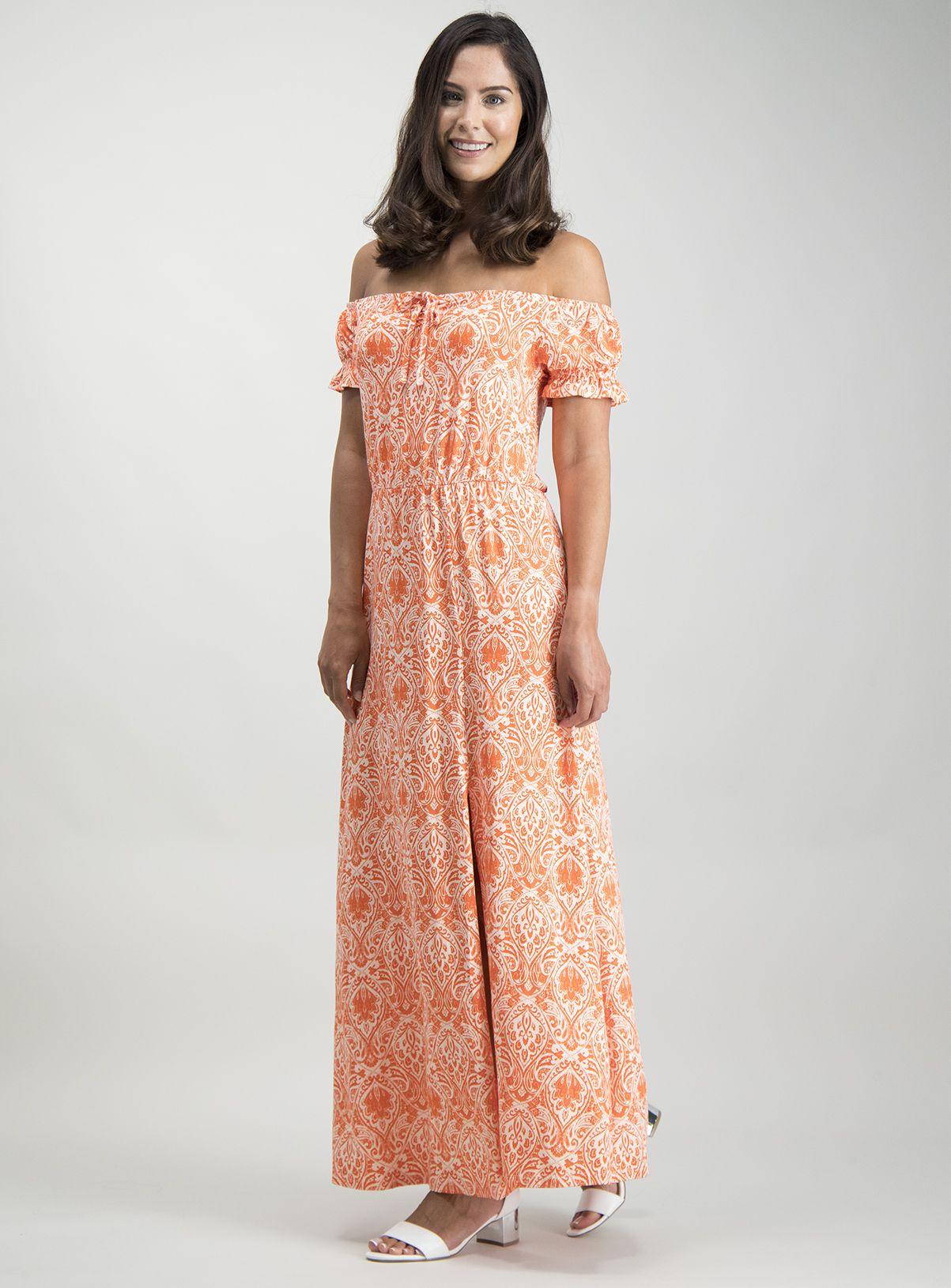Orange Paisley Print Bardot Maxi Dress