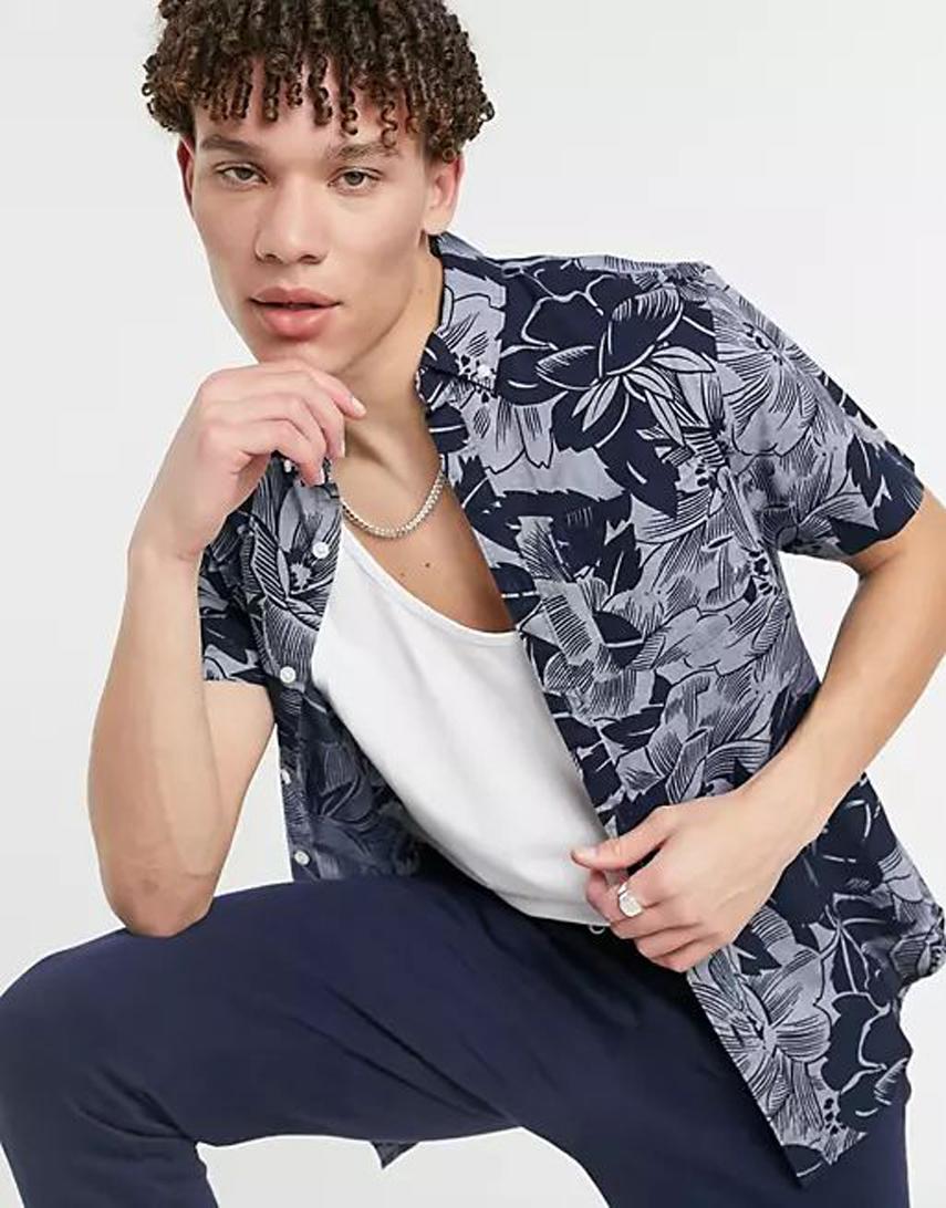 Original Penguin tonal indigo floral print short sleeve shirt regular fit in navy