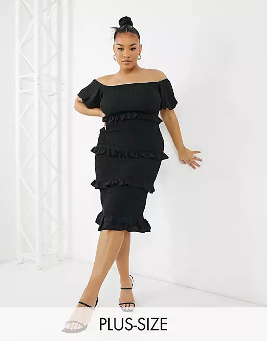 Outrageous Fortune Plus off shoulder frilly shirred pencil dress in black
