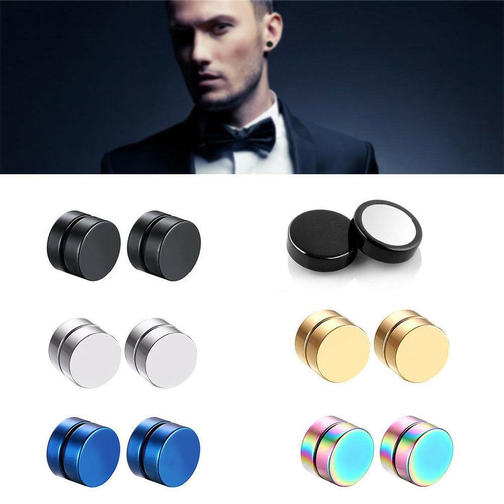 Pair Non Piercing Clip on Magnetic Magnet Ear Stud Mens Womens Fake Earrings