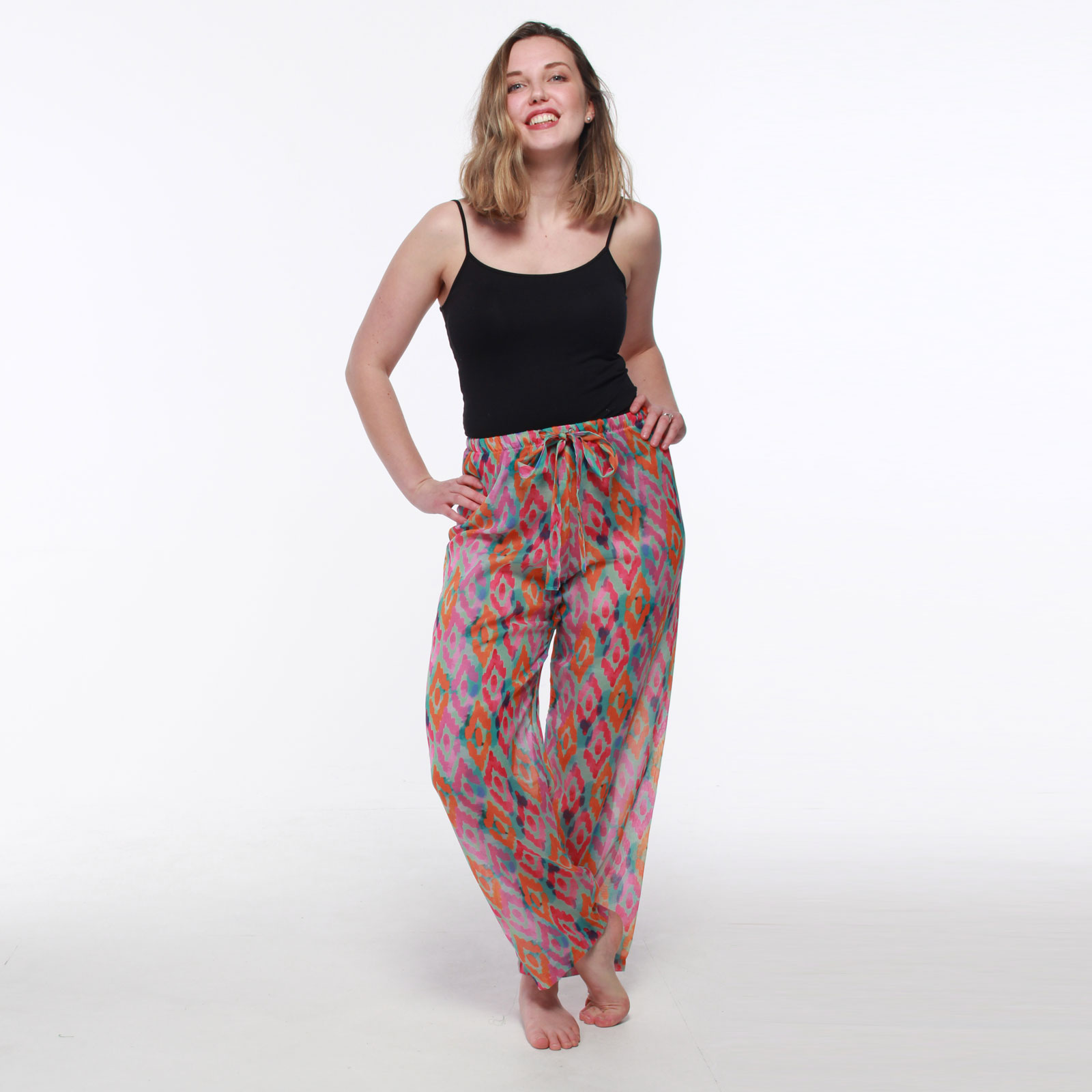 Pink Geometric Patterned Lounge Trousers