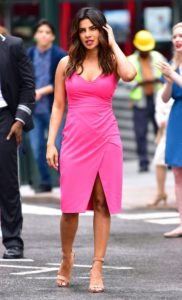 Pink Pencil Dresses with high heel shoes image