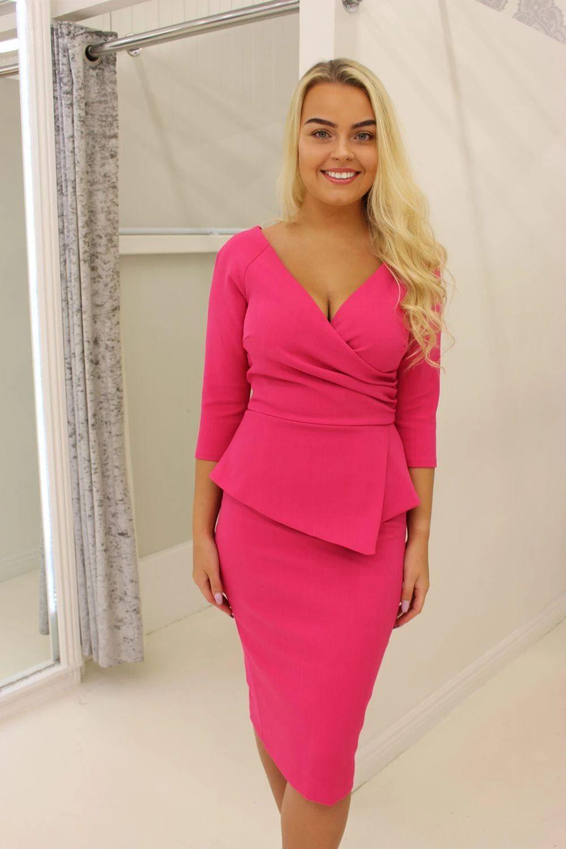 Pink Peplum Midi Pencil Dress