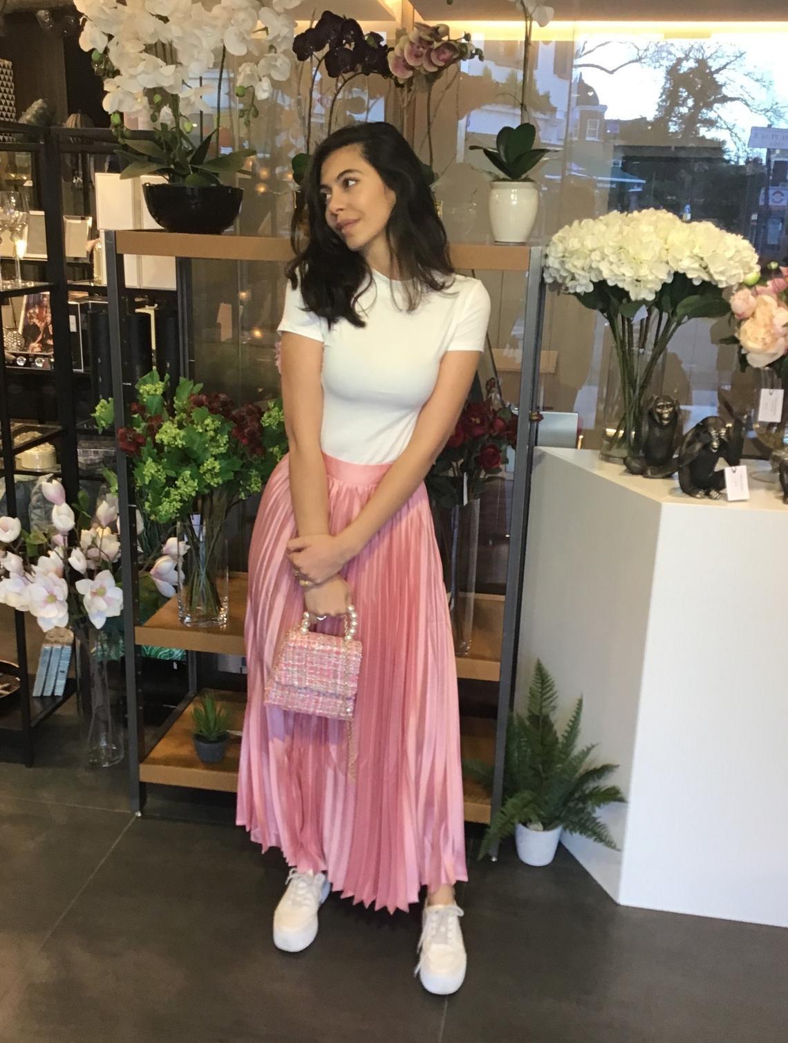 Pink Satin pleat skirt