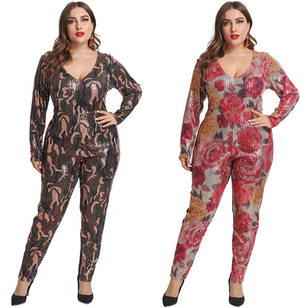 sequin jumpsuit floral print