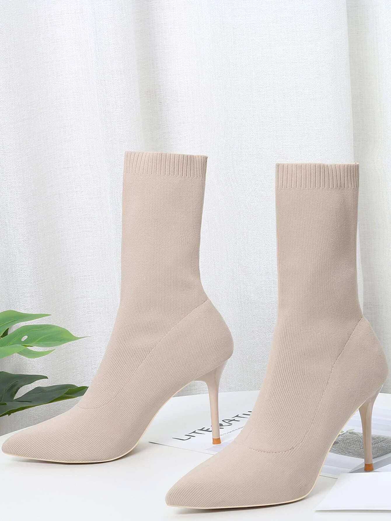 Point Toe Stiletto Heeled Knit Sock Boots