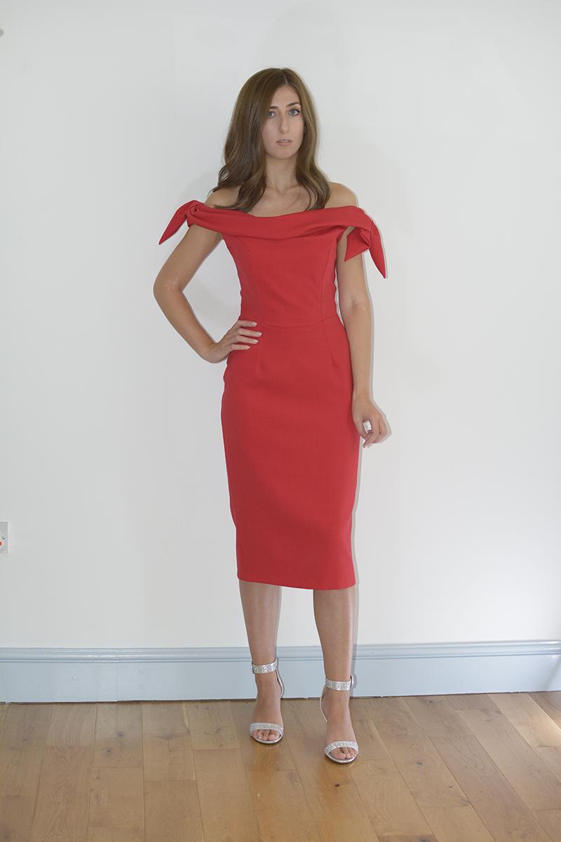 Pretty Dress Company Red Off Shoulder Pencil Dress