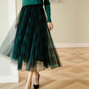 Princess Plaid Skirt Elastic Waist Long Mesh Tutu Tulle Pleated Skirt
