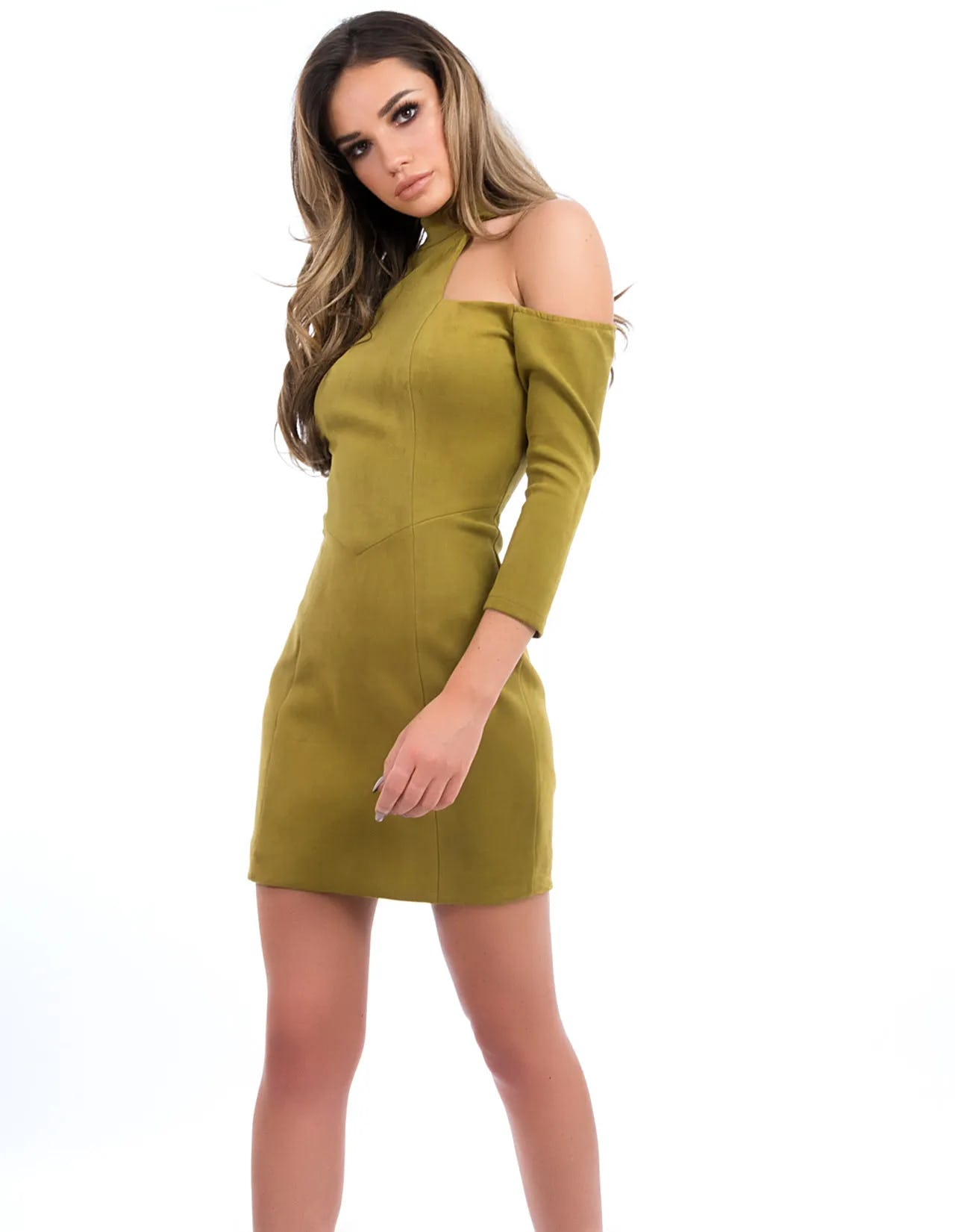 RIZZO - Olive Green Long-Sleeved Suedette Mini Dress