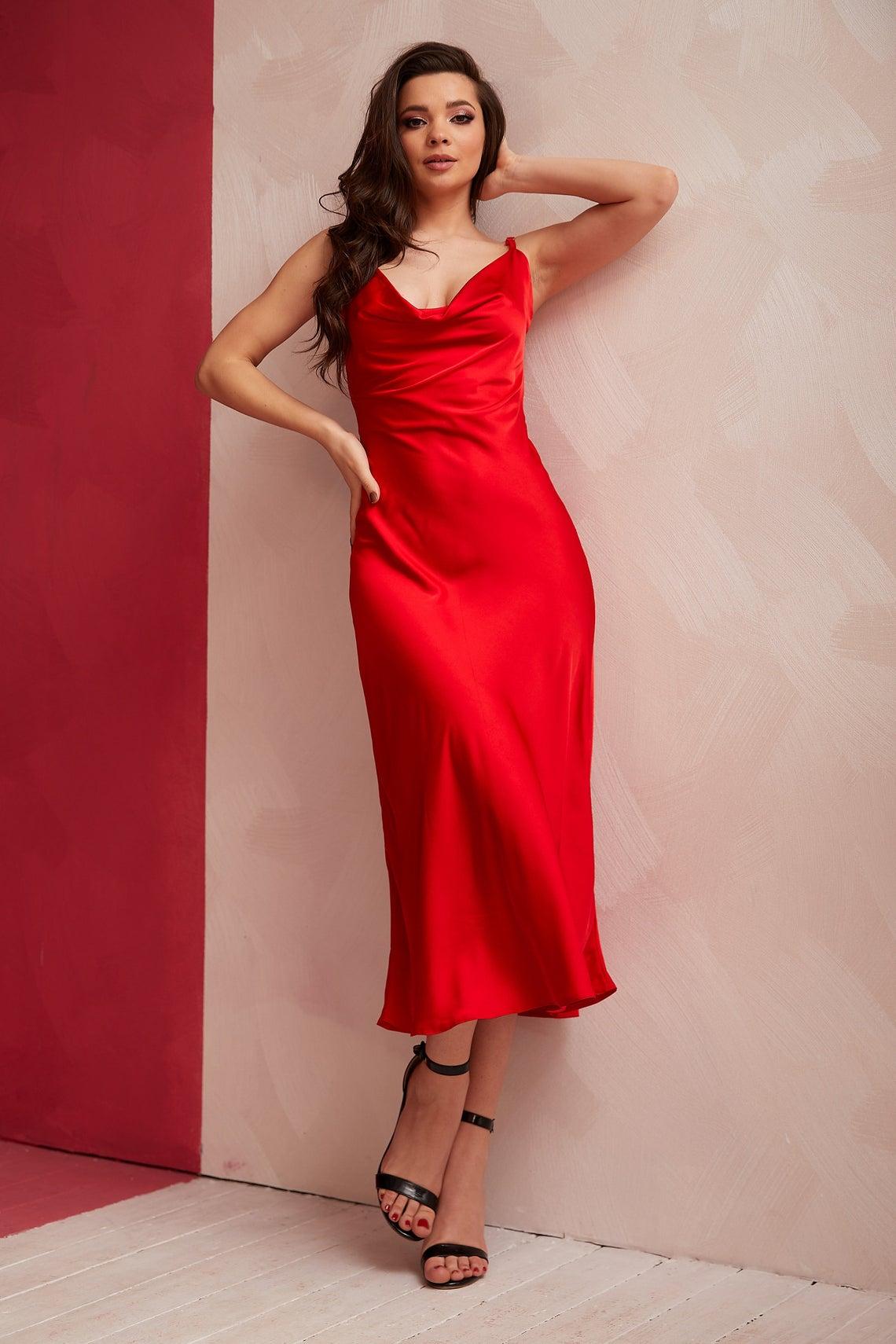 Red Silk Slip Dress Cowl Neck,Midi Silk Dress,Bridesmaid Dress