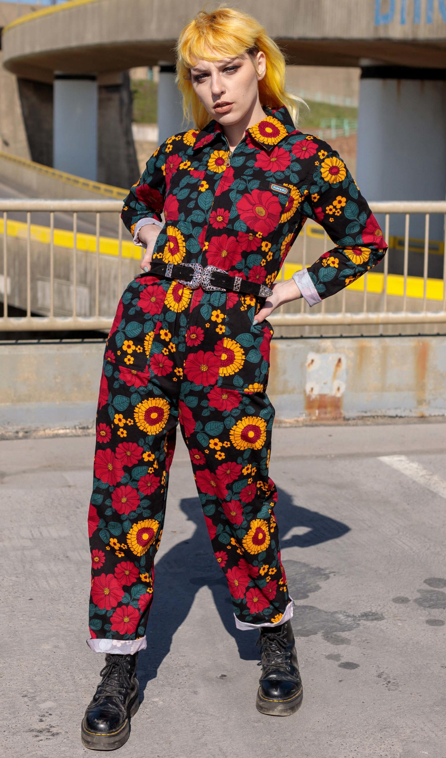 Retro Floral Stretch Twill Boiler Suit