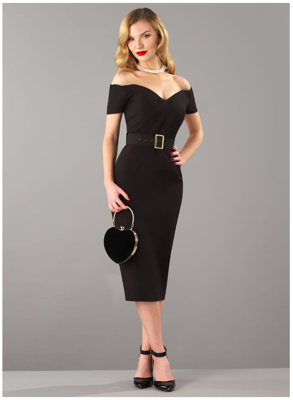 Rhonda's Revenge' Black Vintage 50s Style Pencil Dress