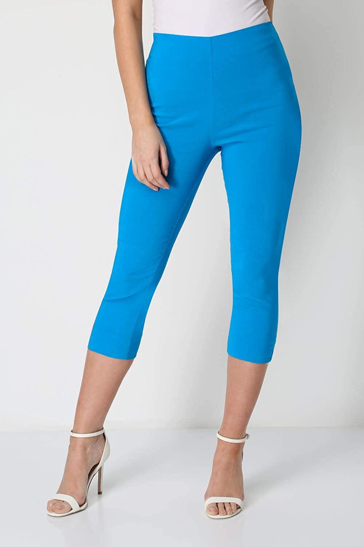 Roman Originals Women Cropped Trousers Ladies Capri Pants Stretch Bengaline Leggings Crop Summer Three Quarter 3/4 Length Shorts Pull On Elasticated Cut Off Work Pedal Pushers