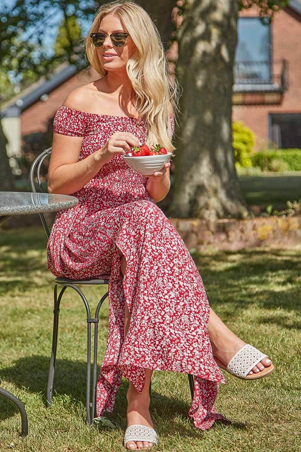Roman Originals Women Floral Shirred Bardot Maxi Dress - Ladies Summer Holiday Beach Casual Everyday Comfort Relaxed Loose Fitting Elasticated Off Shoulder Floor Length Dress