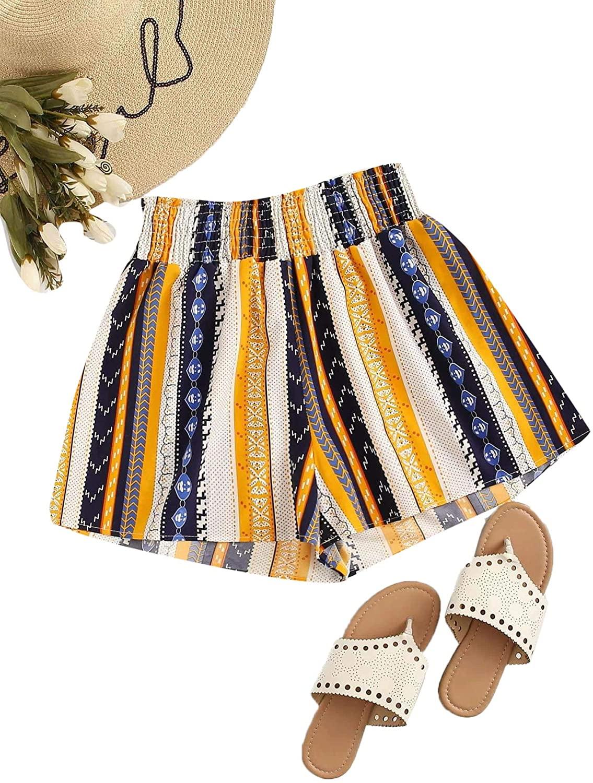 Romwe Women's Plus Summer Floral Elastic Waist Wide Leg Ruffle Hem Beach Shorts