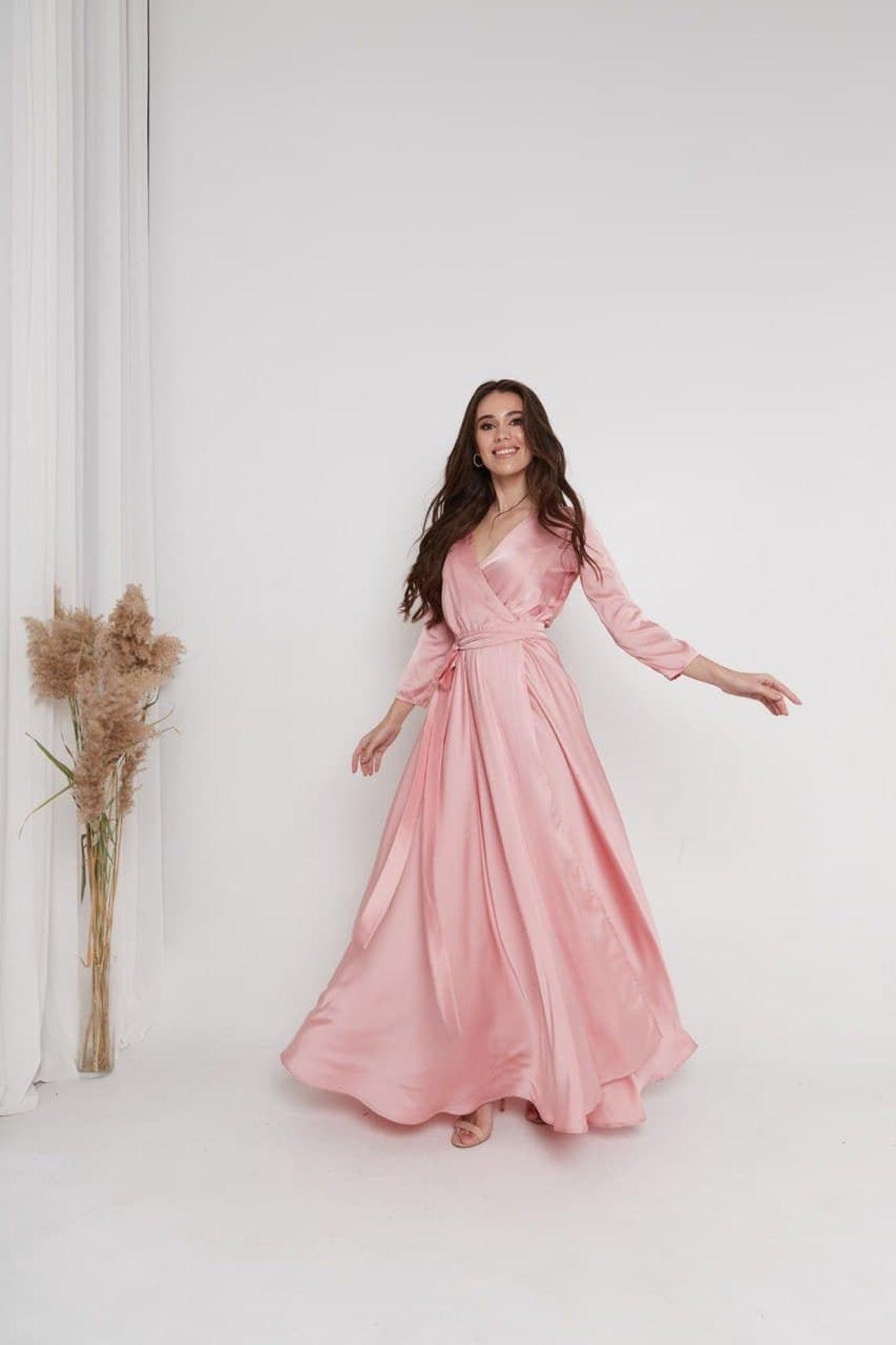 Rose Gold Silk Wrap Dress 3/4 Sleeve Dress Silk Wrap Dress Peasant Dress Half Sleeve Bridesmaid Dress Long Maxi Dress Goddess dress