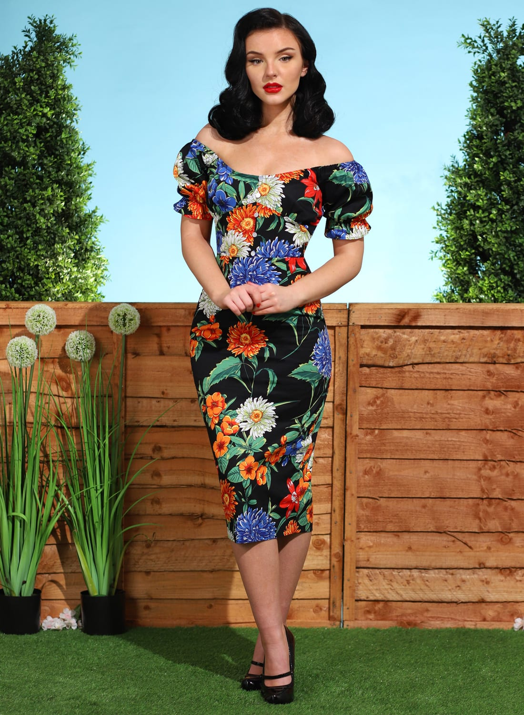Ruby Rae' Marigold Black 50s Pencil Dress