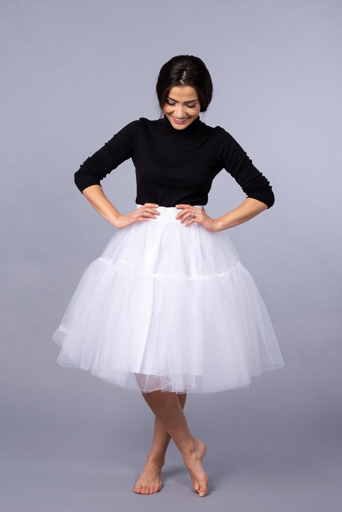 Ruffled Midi White Tulle Skirt / Party White Skirt / Wedding Midi White Skirt / Bridesmaid White Skirt / Summer White Skirt