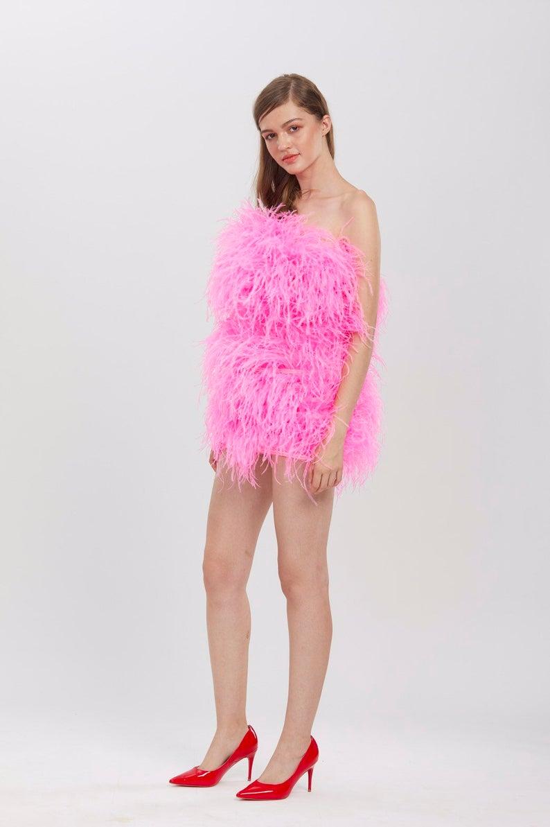 SGinstar Aston Shocking Pink Ostrich Feather Dress Feather Prom Dress Feather Cocktail Dress Feather Wedding Dress Feather Pink Dress