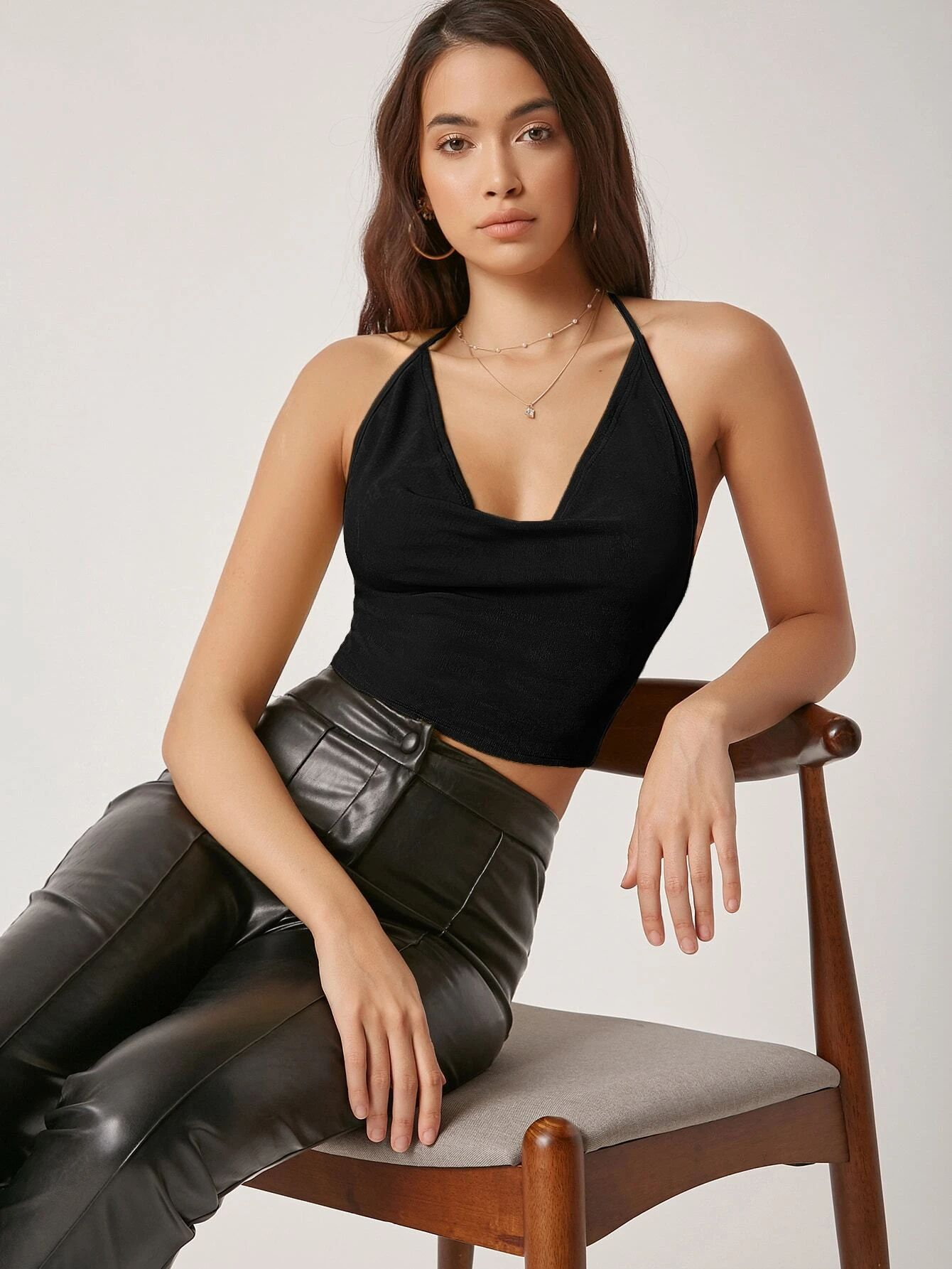SHEIN Draped Neck Tied Open Back Top