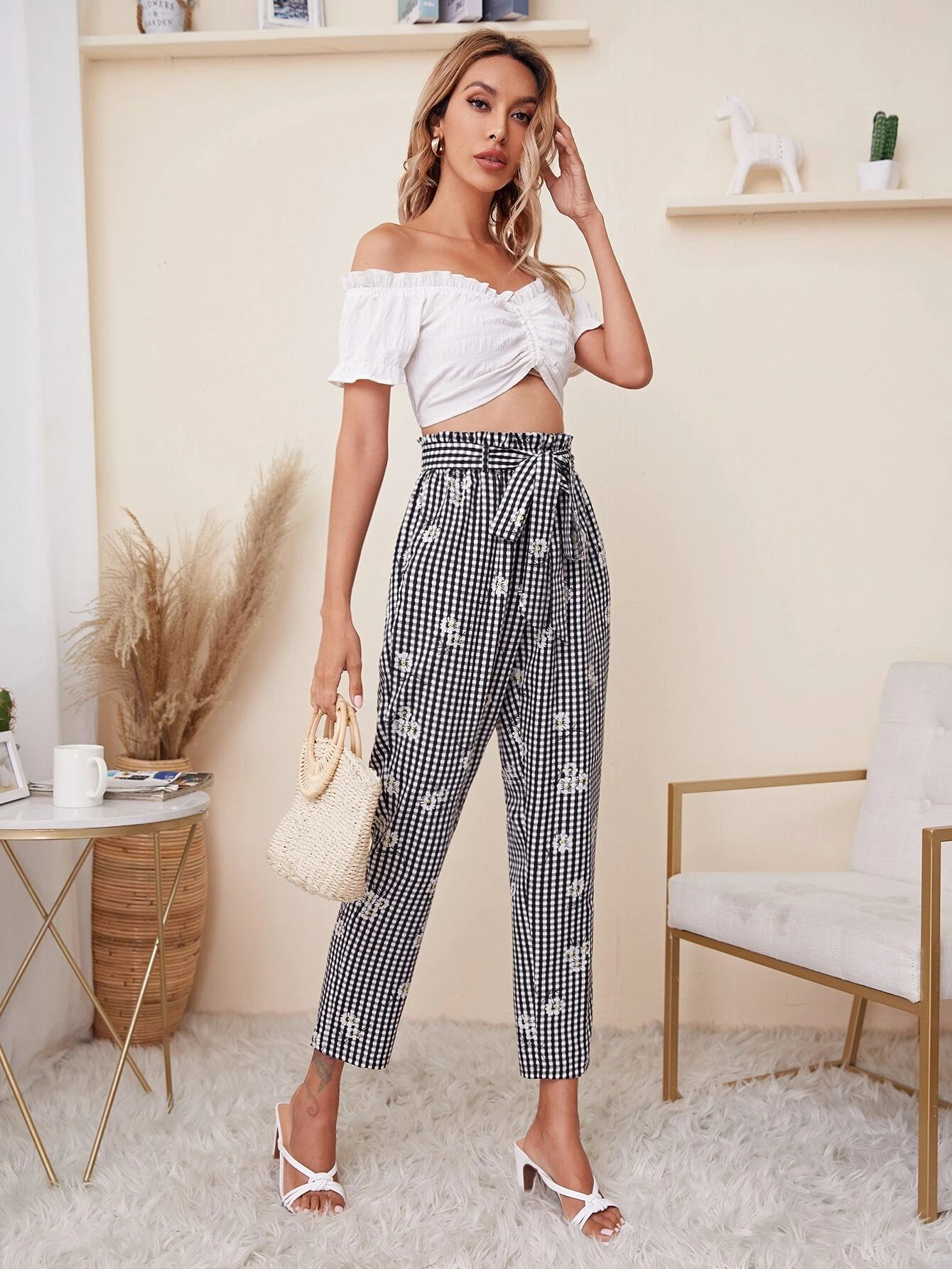 SHEIN Paperbag Waist Floral and Gingham Trousers