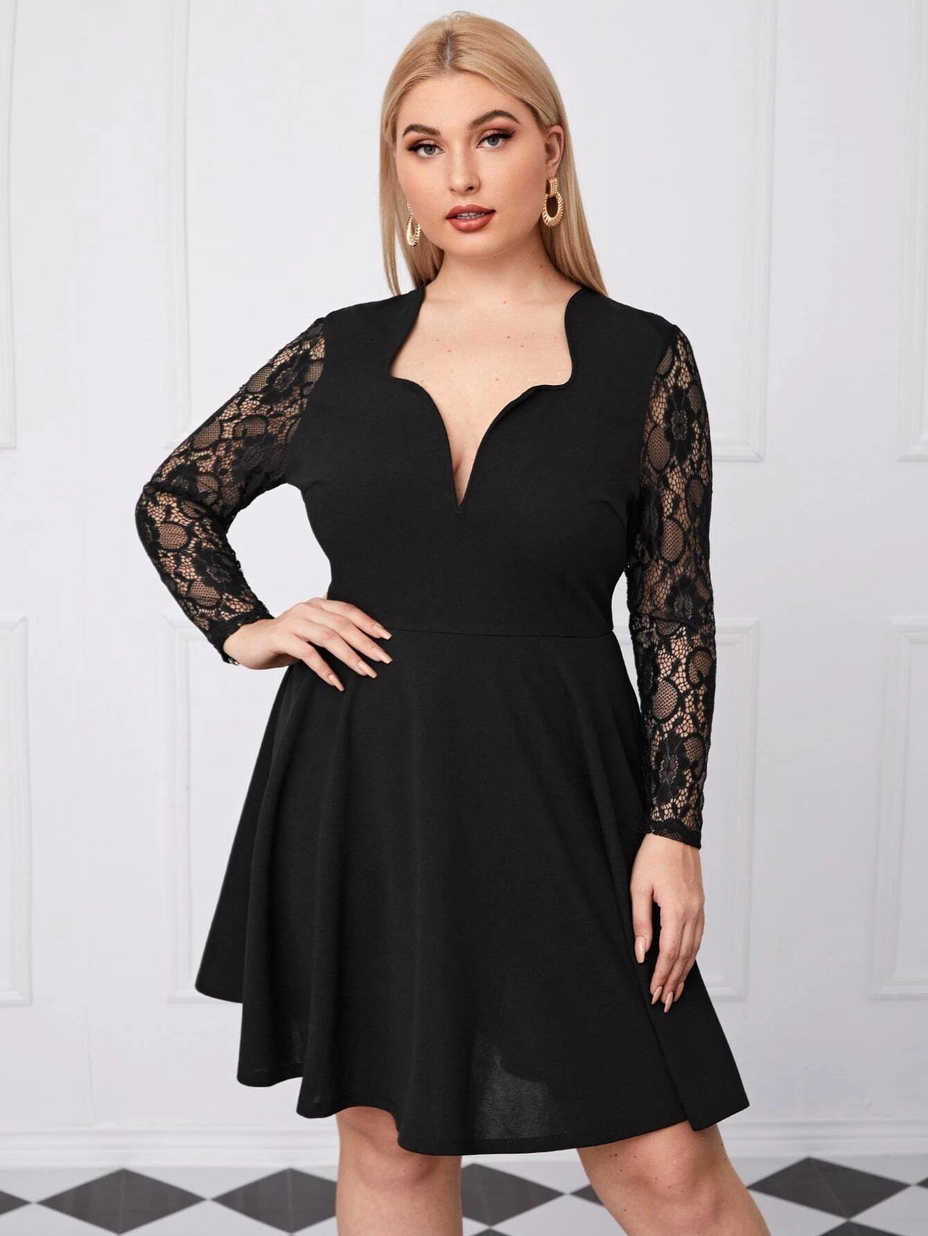 SHEIN Plus Lace Sleeve A Line Dress